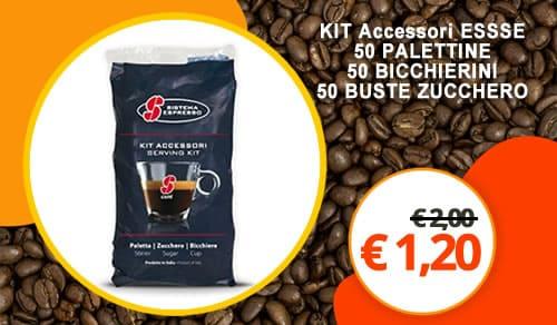 N.1 Kit Accessori Essse Caffè Composto da 50 Palette incartate 50 Bustine di zucchero 50 Bicchierini