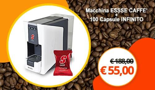 Macchina da caffè S.12 Essse Caffè più 100 capsule miscela infinito